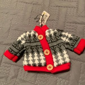 NWT ornament button up fuzzy sweater